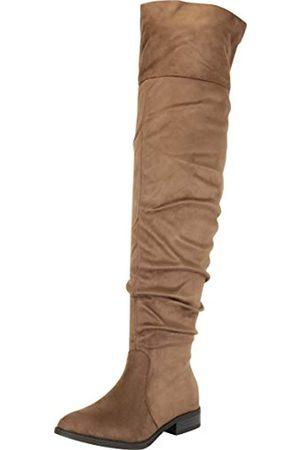Cambridge Select Damen Ruched Chunky Block Low Heel Overknee-Stiefel, Gr�n (Olive Imsu)
