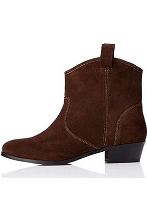 FIND Pull On Leather Casual Western Stiefeletten, Brown)
