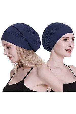 FocusCare Damen satin gefüttert schlaf slouchy cap curly slap kopfbedeckung geschenke für kraus haar eine größe passt meistens dunkelblau