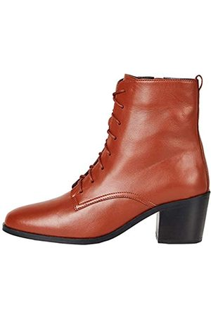 FIND Amazon-Marke: Block Heel Lace Up Leather Stiefeletten, (Red Rouge)