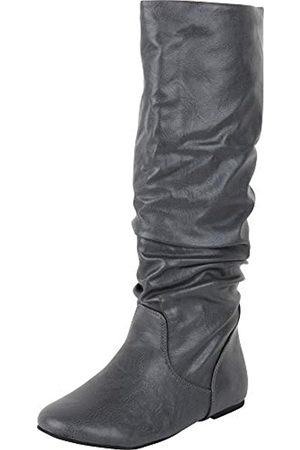 Cambridge Select Damen Flache Stiefel mit rundem Zehenbereich, ( PU)