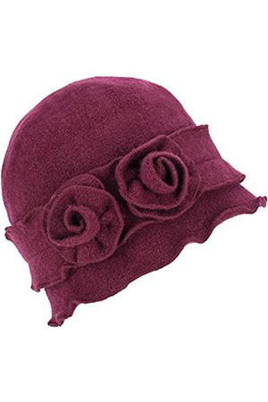 Lawliet Damen Mütze Gatsby 1920er Winter Wollmütze Baskenmütze Beanie Crochet Bucket Flower Hat A285 - Rot - Einheitsgröße