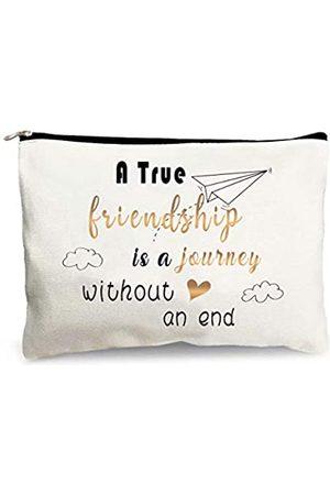 MuaToo Freundschafts-Geschenke für Freunde BFF Schwester Mädchen Frauen Lustige Kosmetiktasche Baumwolle Reißverschluss Beutel für Freunde Geburtstagsgeschenk -A True Friendship Is A Journey Without An End
