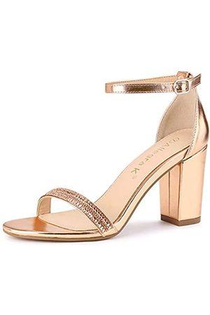 Allegra K Damen Strass Knöchelriemen Chunky Heels Sandalen, Beige (rose )