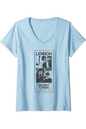 John Lennon Damen - Karma Signature T-Shirt mit V-Ausschnitt