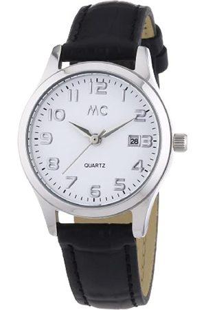 MC Damen-Armbanduhr mit schwarzem Lederband