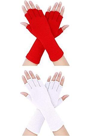 Pangda 2 Pairs Unisex Fingerless Gloves Half Finger Stretchy Knit Gloves Lengthen Wrist Mittens Winter Warm Gloves (White