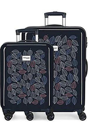 MOVOM Enso Leaves Kofferset 55/68 cms Hartschalen ABS Kombinationsschloss 104L 4 Doppelräder Handgepäck