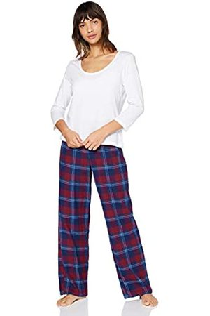 IRIS & LILLY Amazon-Marke: Damen Pyjama-Set aus Flanell, Mehrfarbig (Red), XL