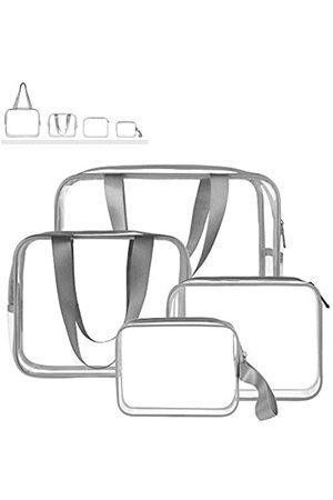 Sariok 4-in-1 Kulturbeutel-Set, TSA genehmigt, tragbar, Reise-Kosmetiktasche, Make-up-Tasche mit Reißverschluss, Tragegriff, für Damen, Herren, Kinder, wasserdicht