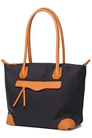 Jeelow Schwarze Arbeitstasche aus Nylon mit Reißverschluss und Taschen für Damen, Schwarz (mittelbraun)