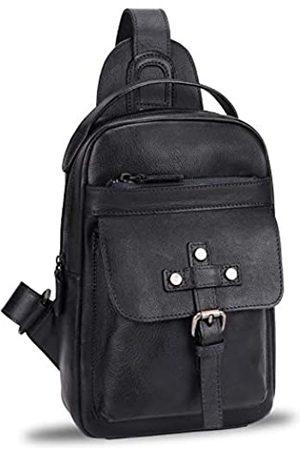 LRTO Echtes Leder Sling Bag für Herren Vintage Handgefertigte Crossbody Wandern Tagesrucksack