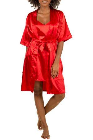 familytrends Set: Push-up-BH »Damen Homewear« (2-tlg) mit Hüftslip aus Kimono und Negligé