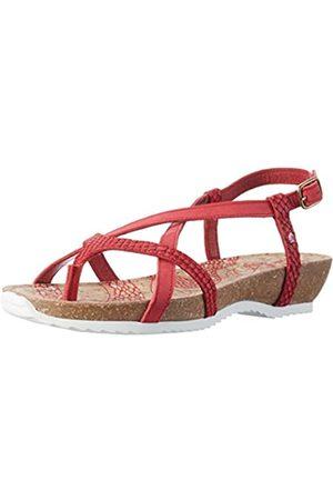 Panama Jack Damen Daria Snake Offene Sandalen mit Keilabsatz, (Red)