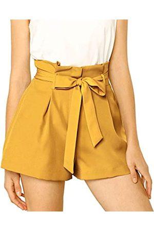 Allegra K Damen A Linie High Waist Bindegürtel Paperbag Kurze Hose Shorts M