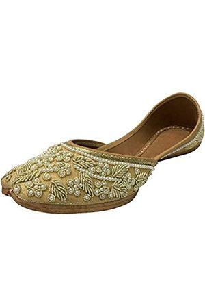 Step N Style Creme Gold Braut Flats Hochzeit Schuhe Indische Designer Schuhe Punjabi Jutti Mojari Juti, (Creme-kalt.)