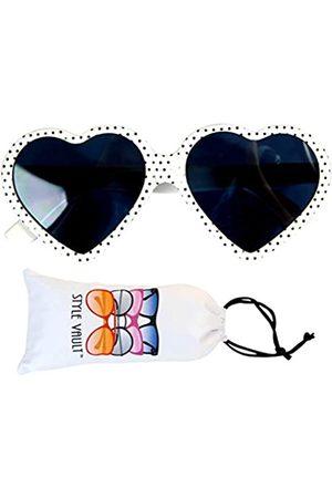 Style Vault Kd3141 Unisex Sonnenbrille für Babys und Kleinkinder, Alter 0–36 Monate, Herzform, Weiá (Polka Dots )