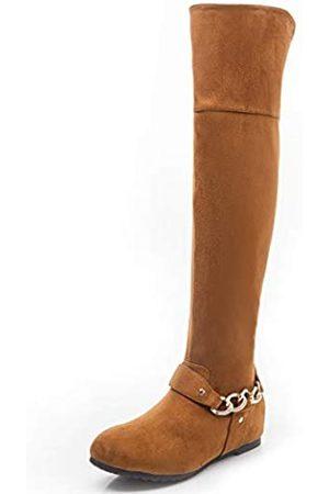 LifeStep Damen Lace Up Round Toe Low Heel Overknee Stiefel, (hautfarben)