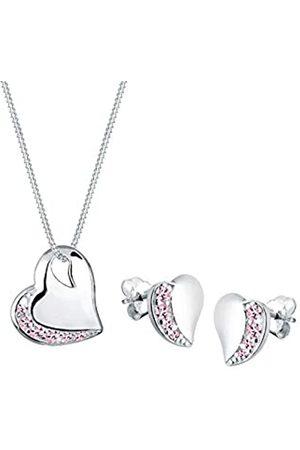 Elli Schmuckset Damen Herz Edel mit Kristalle in 925 Sterling Silber