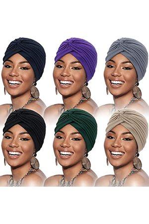 SATINIOR 6 Stücke Turban für Frauen Weich Turban Kopfwickel Kopfbedeckung Plissee Mütze Kappe Haarausfall Hut ( , Dunkelblau, , , Lila