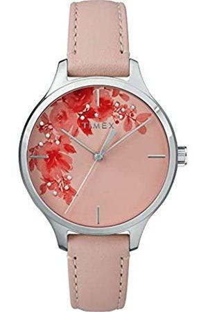 Timex Unisex Erwachsene Analog Quarz Uhr mit Leder Armband TW2R66600