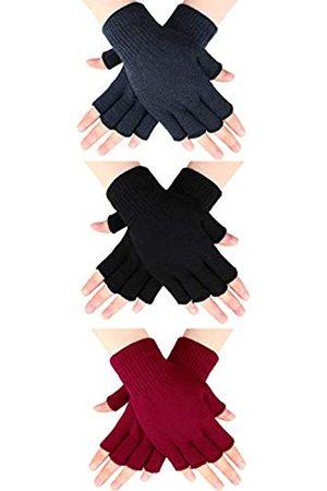 SATINIOR 3 Paar Halb Fingerhandschuhe Winter Fingerlose Handschuhe Strickhandschuhe für Männer Frauen (