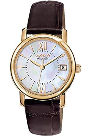 DUGENA Damen-Armbanduhr Rondo Petit, Quarz, perlmuttfarbenes Zifferblatt, Edelstahlgehäuse, Saphirglas