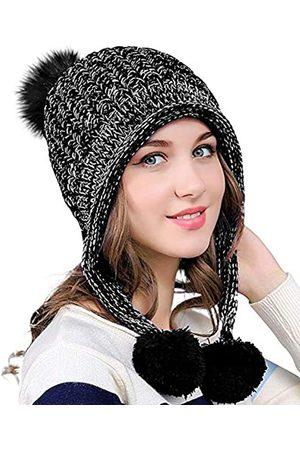 DOCILA Winter Beanie Mütze für Frauen Warm Fleece Gefüttert Pom Knit Hat Cute Outdoor Skull Cap - - Medium