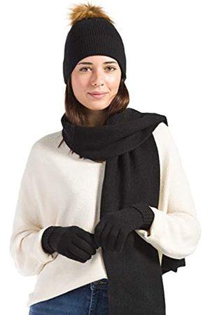 Fishers Finery Damen 3-teiliges Set aus 100% Kaschmir Pom Beanie Mütze Handschuh Schal Set mit exquisiter Box - - Einheitsgröße