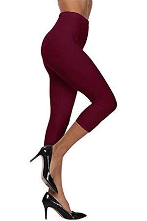 VOGUEMAX Damen Capri Leggings Hohe Taille Weich Und Bequem Cropped Leggings Strumpfhose 3/4 Länge Leggings - Rot - Einheitsgröße