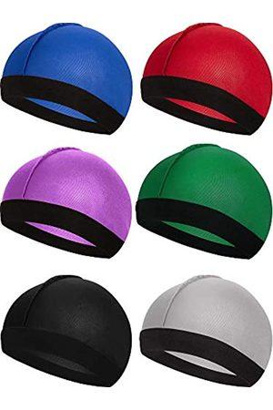 Syhood 6 Stücke Gummiband Seidige Wellen Kappen für Herren Seidenmaterial für 360 540 und 720 Wellen (Farbe 1)