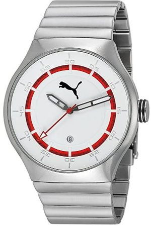 PUMA Time Herren-Armbanduhr XL Speaker 3HD Metal Silver White Analog Quarz Edelstahl PU102551004