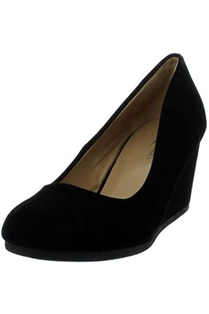 FOREVER Link Women's Patricia-02 Wedge Pumps Shoes,Black Suede