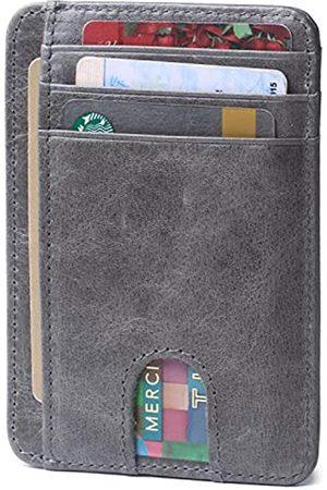 Borgasets Slim minimalistische Vordertasche RFID-blockierendes Leder Geldbörse für Männer und Frauen Kreditkarten-Halter - - Small