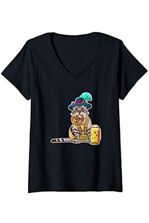 Tierisch Bayrisch Damen Bayrischer Kater in Lederhose Geschenk für Katzen Liebhaber T-Shirt mit V-Ausschnitt