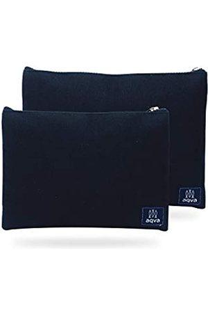 AQVA Set mit 2 umweltfreundlichen Baumwoll-Leinen-Beuteln, Schreibwaren-Beutel, Münzgeldbeutel, Kosmetik-Kit, Make-up-Tasche, Kulturbeutel