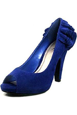 Qupid Damen High Heel Plateau Zurück Rüschen Verziert Peep Toe Sexy Pumps Mode Schuhe