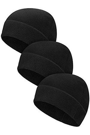 Syhood 3 Pieces Winter Warm Watch Cap Soft Polar Fleece Beanie Hat Thick Windproof Skull Cap Skiing Outdoor Cap for Men Women (Black)