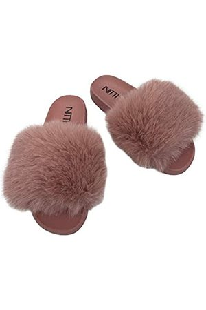 NITTI Damen Flauschige Pelz Slides | Offene Zehe Niedliche Kunstpelz Hausschuhe | Outdoor Indoor Bequeme Slide Sandalen, Pink (new pink)