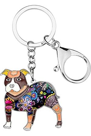 WEVENI JEWELRY WEVENI Schlüsselanhänger Boston Pit Terrier Bulldogge Emaille Legierung Modeschmuck für Frauen Mädchen Tasche Charm Zubehör Geschenke