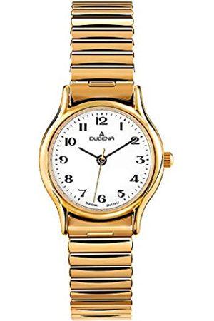 DUGENA Damen-Armbanduhr 4460535 Vintage Comfort, Quarz, weißes Zifferblatt, Edelstahlgehäuse, Mineralglas, Edelstahl-Zugband