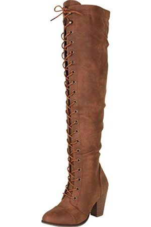Cambridge Select Damen Overknee Chunky Stacked Heel Lace Up Stiefel, ( PU)