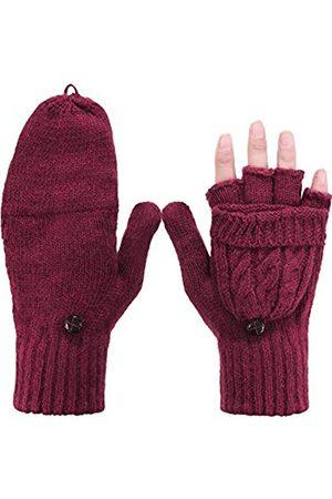 Tatuo Damen Cabrio Handschuh Zopf Handschuh Halb Fingerfäustling mit Deckel für Kalte Tage (Burgund)