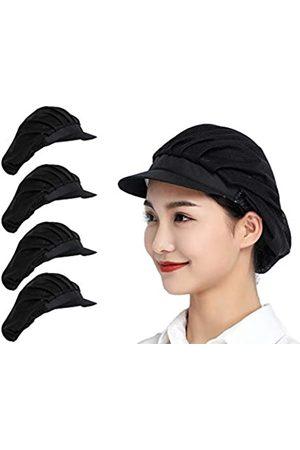 Jaspfct 1 Stück / 4 Stück Kochmützen Küche Bäcker Kochen Haarnetze Lebensmittel Service Kappen für Erwachsene - Schwarz - Einheitsgröße