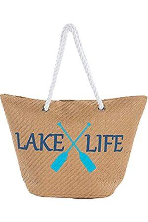 Funky Junque Damen Strandtasche mit Spruch, große Stroh-Reisetasche, Braun (Lake Life)