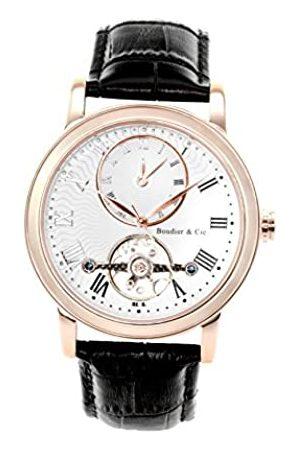 Boudier & Cie Boudier and Cie Automatik Uhr Armbanduhr für Männer Herren mit zwei Zeitzonen Analoge Anzeige Zifferblatt und Leder Armband in Klassische Herrenuhr Männeruhr B15H4