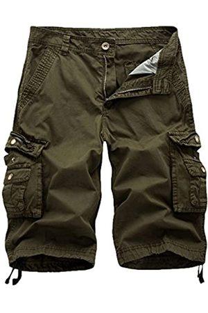 FOURSTEEDS Damen Baumwolle Loose Fit Reißverschluss Multi Taschen Twill Bermuda Kordelzug Frauen Cargo Shorts - Gr�n - 46