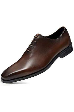 GIFENNSE Herren Kleid Schuhe Oxford Formale Leder Schuhe für Männer, (dunkelbraun)