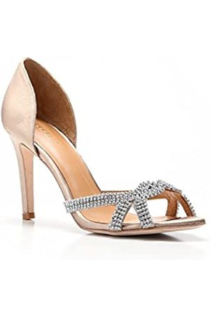 "CECELIA ""Resse"" Satin D'Orsay High Heel Sandalen, (nude)"