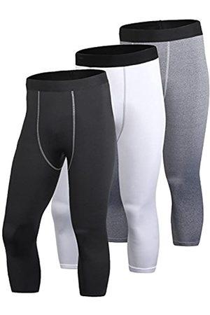 Yuerlian Herren Kompressionshose 3/4 Capri Shorts Baselayer Cool Dry Sport Tights 3er Pack, Herren, + +